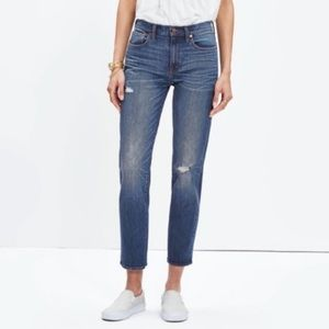Madewell Distressed High Rise Straight Crop 32